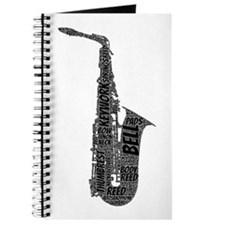 Alto Sax Shaped Word Cloud (Black Text) Journal