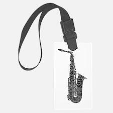 Alto Sax Shaped Word Cloud (Black Text) Luggage Ta