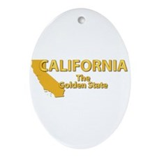 State - California - Gold State Ornament (Oval)