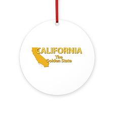 State - California - Gold State Ornament (Round)