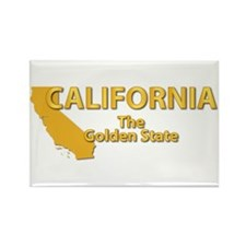 State - California - Gold State Rectangle Magnet