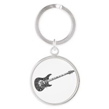 Electric Guitar Shaped Word Cloud Keychains