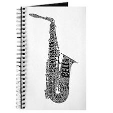 Alto Sax Shaped Word Cloud (Black Text) Journal