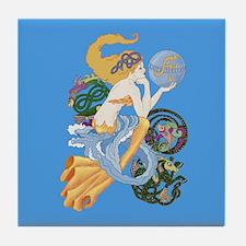 celtic a for aquarius mermaid Tile Coaster