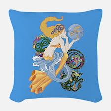 celtic a for aquarius mermaid Woven Throw Pillow