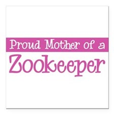 "Cute Zookeeper Square Car Magnet 3"" x 3"""
