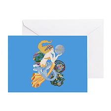 celtic a for aquarius mermaid Greeting Cards