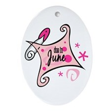 Due in June [pink] Oval Ornament