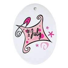 Due in July [pink] Oval Ornament