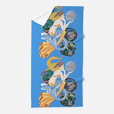 celtic a for aquarius mermaid Beach Towel