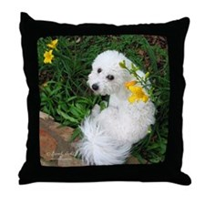 """Springtime Bichon"" Throw Pillow"
