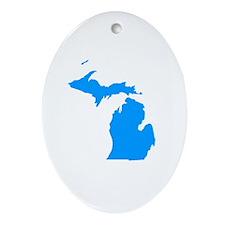 Blue Michigan Oval Ornament