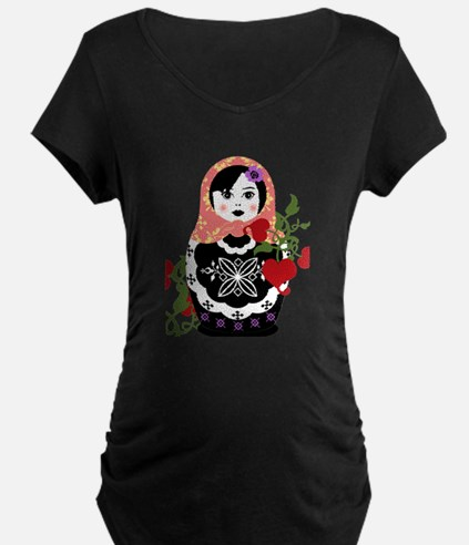 Nesting Doll In Flowers Maternity T-Shirt