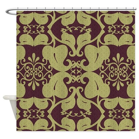 Ornate Burgundy And Gold Shower Curtain By Bathtimedesigns