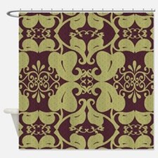 Asian Red And Gold Shower Curtains   Asian Red And Gold Fabric ...