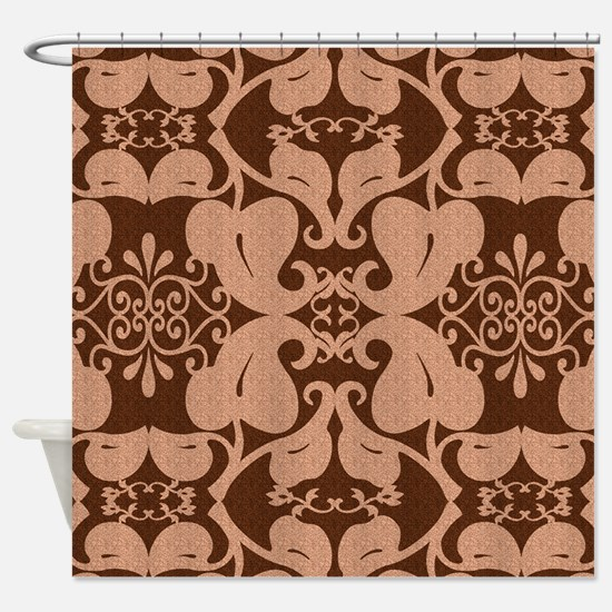 orange and brown shower curtain. Ornate Floral Peach And Brown Shower Curtain Curtains  CafePress
