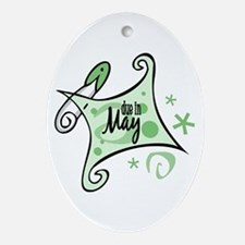 Due in May [Green] Oval Ornament