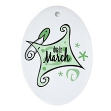 Due in March [Green] Oval Ornament