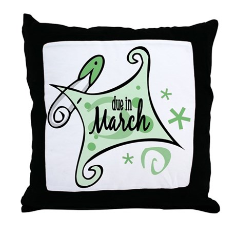 Due in March [Green] Throw Pillow