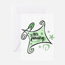 Due in January [Green] Greeting Cards (Package of