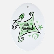 Due in August [Green] Oval Ornament