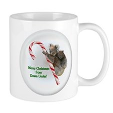 Koala and Baby Joey on Christmas Candy Cane Mugs