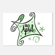 Due in April [Green] Postcards (Package of 8)