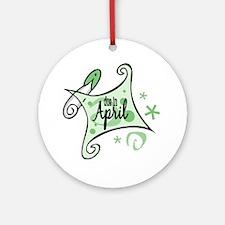 Due in April [Green] Ornament (Round)