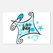 Due in May [Blue] Postcards (Package of 8)