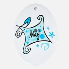 Due in May [Blue] Oval Ornament