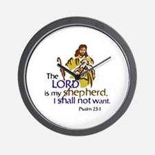 The Lord is my sheperd, Psalm 23:1, Psa Wall Clock