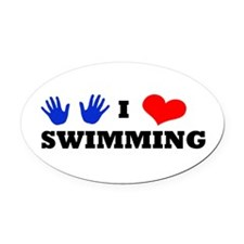 I Luv Swimming Oval Car Magnet