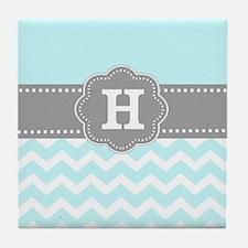 Aqua Gray Chevron Monogram Tile Coaster