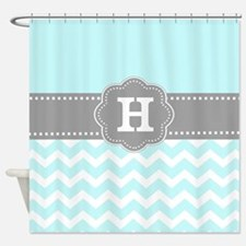 Aqua Gray Chevron Monogram Shower Curtain