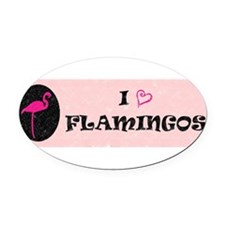 Cute Pink flamingo Oval Car Magnet