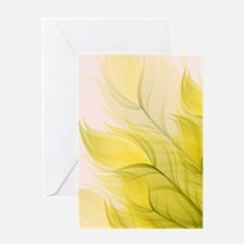 Beautiful Feather Golden Yellow Leaf Greeting Card
