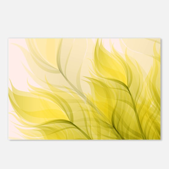 Beautiful Feather Golden Yellow Leaf Postcards (Pa