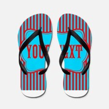 Personalizable Red and Teal Striped Flip Flops