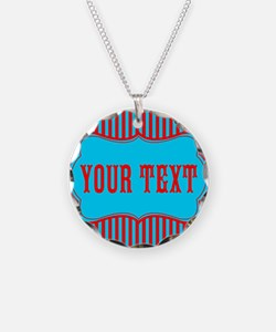 Personalizable Red and Teal Striped Necklace