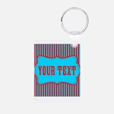 Personalizable Red and Teal Striped Keychains