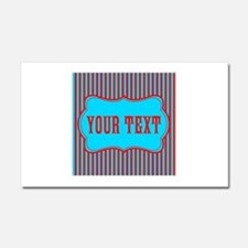 Personalizable Red and Teal Striped Car Magnet 20