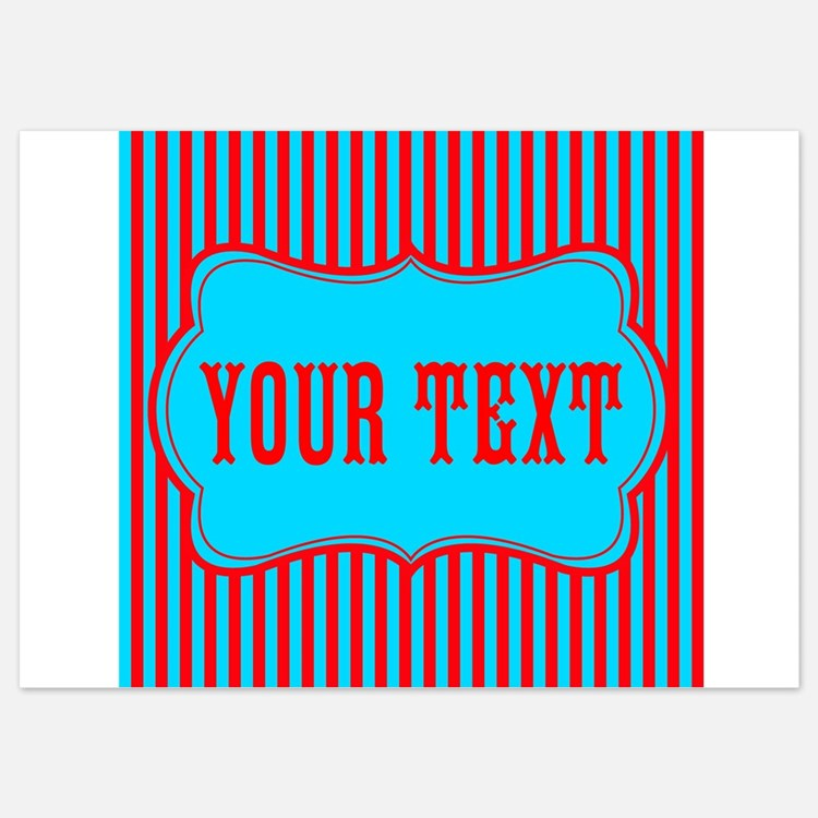 Personalizable Red and Teal Striped Invitations