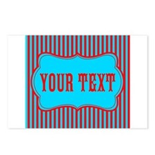Personalizable Red and Teal Striped Postcards (Pac