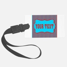 Personalizable Red and Teal Striped Luggage Tag