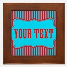 Personalizable Red and Teal Striped Framed Tile