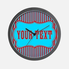 Personalizable Red and Teal Striped Wall Clock