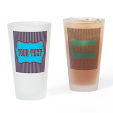 Personalizable Red and Teal Striped Drinking Glass