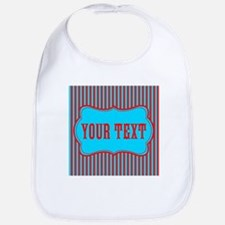 Personalizable Red and Teal Striped Bib