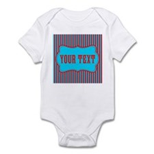 Personalizable Red and Teal Striped Body Suit