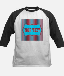 Personalizable Red and Teal Striped Baseball Jerse
